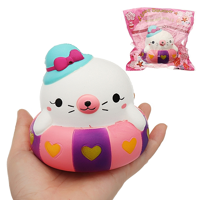 UNIVERSAL Swimming Circle Cat Squishy Charm 1010CM SFaible Rising With Packaging Collection Gift Soft Toy- à prix pas cher