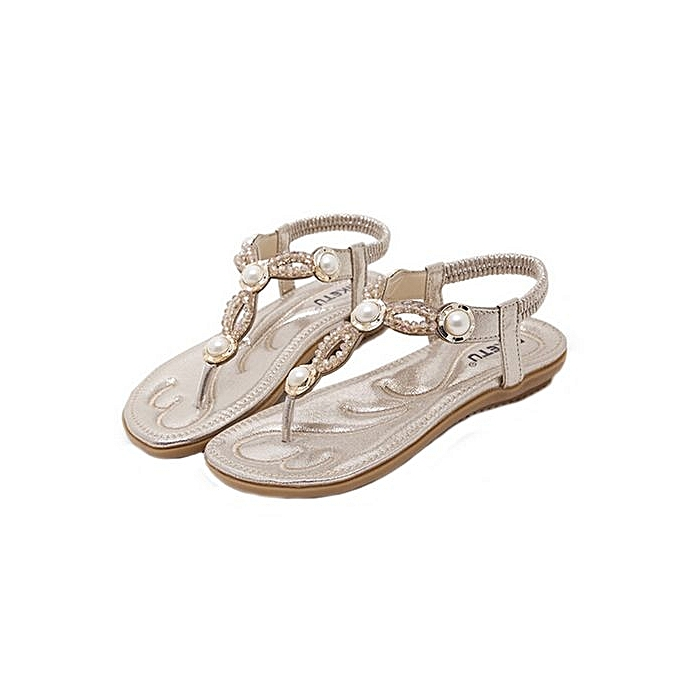 Fashion Blicool chaussures femmes Bohe Rhinestone Fashion Flat Large Taille Casual Sandals Beach chaussures GD  or à prix pas cher