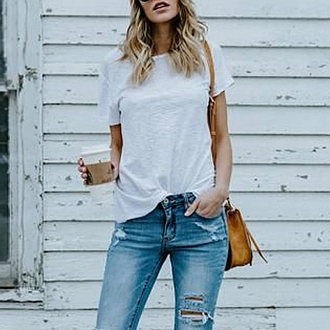 Generic Generic Wohommes Summer O Neck Short Sleeve Loose Casual Top Tee T-Shirt Blouses A1 à prix pas cher