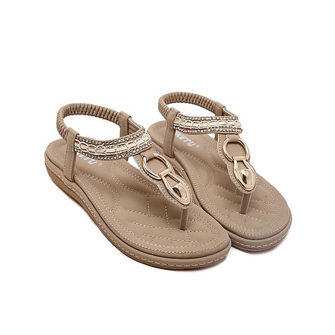 UNIVERSAL SOCOFY femmes Summer Slippers Sandals Flip Flops T-Strap Beach Thong chaussures Roman-Beige à prix pas cher