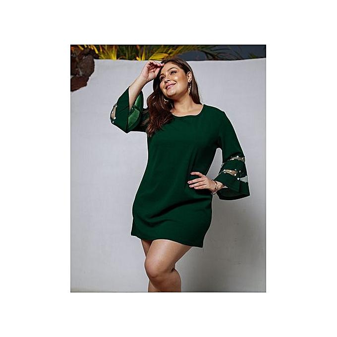 GeneAfrica vert Plus Taille Flare Sleeve Dresses Solid Couleur à prix pas cher
