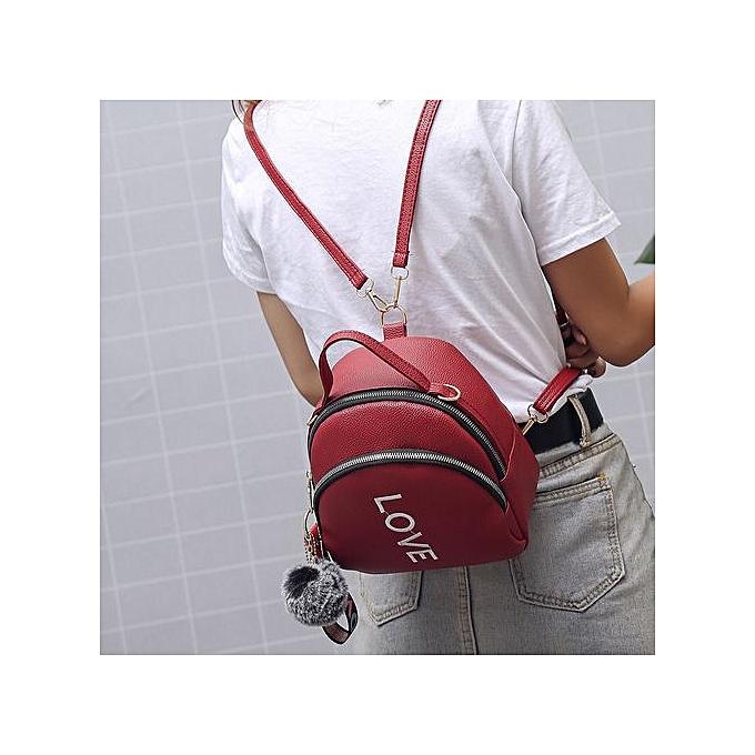 Fashion Xiuxingzi Girl Hairball Leather School Bag Pure Couleur Backpack Satchel Travel Shoulder Bag à prix pas cher