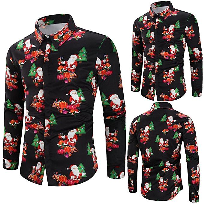 mode Hommes Décontracté Snowflakes Santa Candy Printed Christmas Shirt Top chemisier à prix pas cher