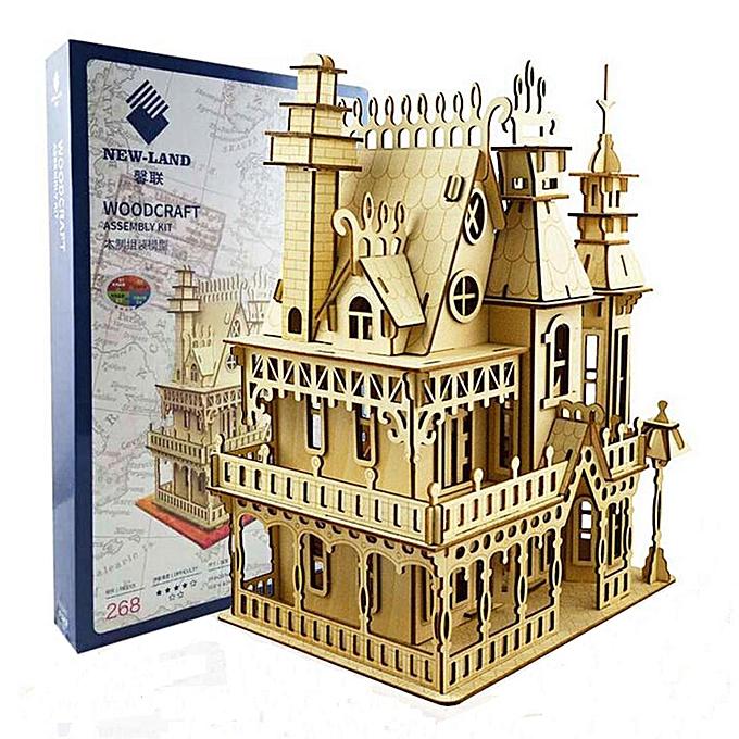 Autre NOUVEAU bricolage victorienne Fantasy Villa maison de poupées en bois maison de poupée découpée au laser Kit de bois à prix pas cher