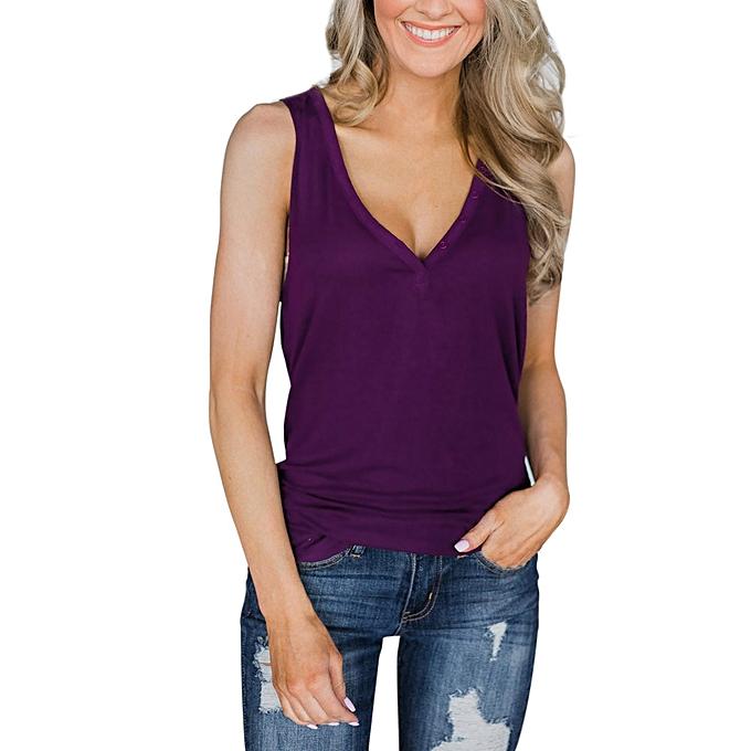 Generic Generic femme's Short Shirts Casual Sleeveless Tops O Neck Tee Slim Tank Blouse A1 à prix pas cher