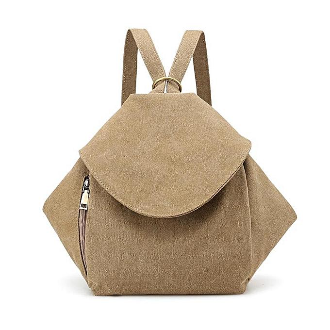 UNIVERSAL femmes Multifunction Canvas Backpack Vintage Shoulder Bags Students School Rucksack  khaki à prix pas cher