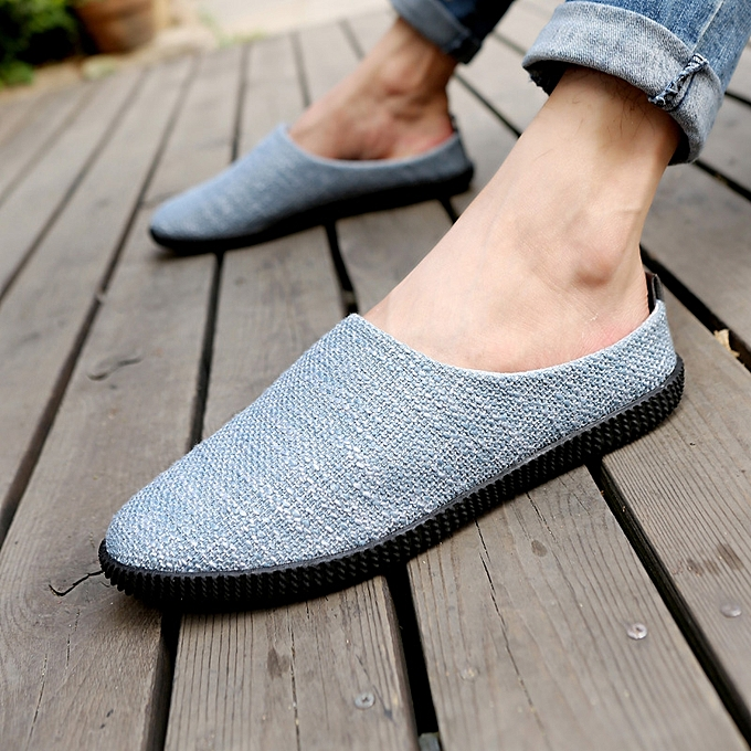 Fashion Linen Men Outdooors Casual chaussures Spring Autumn Half Slippers Driving Soft Light Breathable Cool à prix pas cher