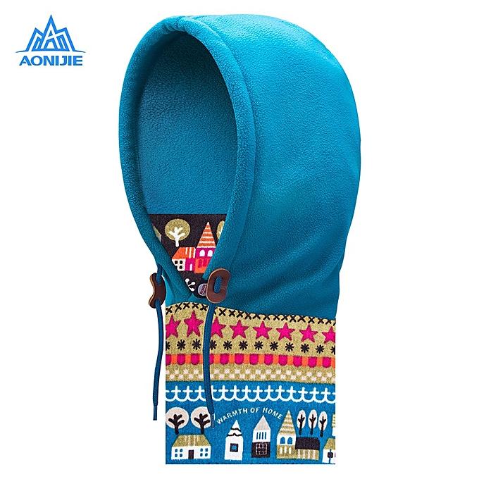 AONIJIE Outdoor Fleece Thicken Neck Mask Windproof Cap Headgear For Motorcycling Skiing Snowboarding(bleu LIFE SCENE) à prix pas cher