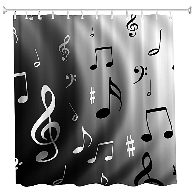 Other Wavy Notes Polyester Shower Curtain Bathroom  High Definition 3D Printing Water-Proof à prix pas cher