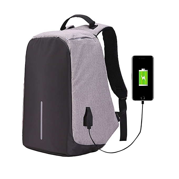 Generic Multi-Function Large Capacity Travel Anti-theft Security Casual Backpack Laptop Computer Bag with External USB Charging Interface for Men   femmes, Taille  42 x 29 x 14cm(gris) à prix pas cher