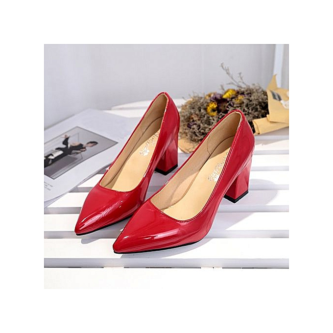 Fashion Wohommes Fashion Square Heel chaussures Pointed Toe Shallow High-Heeled chaussures à prix pas cher