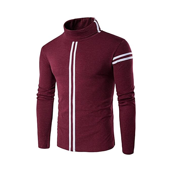 mode Pour des hommes mode rayé Turtleneck T-shirt Elastic Slim Fit manche longue hauts à prix pas cher