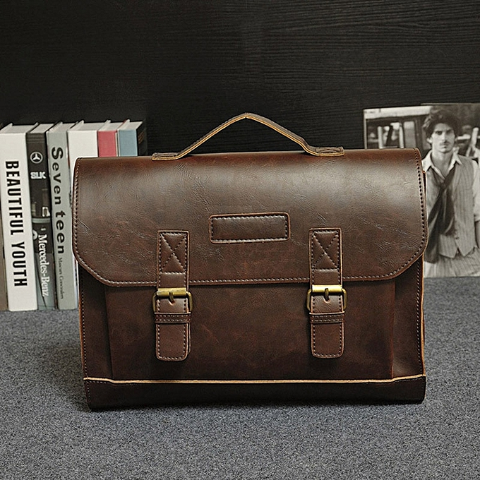 Other Crazy Horse PU cuir Hommes Briefcase Famous Brand Hommes's Messenger sac Male Laptop sac Affaires mode Shoulder sacs voyage sac(coffee) à prix pas cher