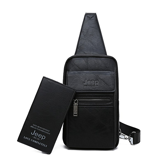 Other JEEP BULUO High Quality Men Chest Bags Split Leather Large Taille Shoulder Crossbody Bag For Young Man Famous Brand Sling Bags(8804-8888-noir) à prix pas cher