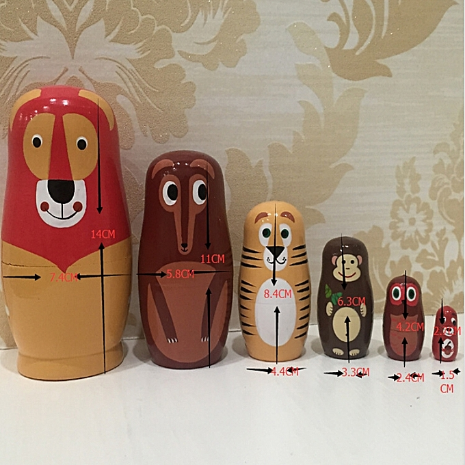 UNIVERSAL 6pcs Matryoshka Animal Russian Doll Cute boisen Nesting Dolls UK Enfants Xmas Gifts à prix pas cher