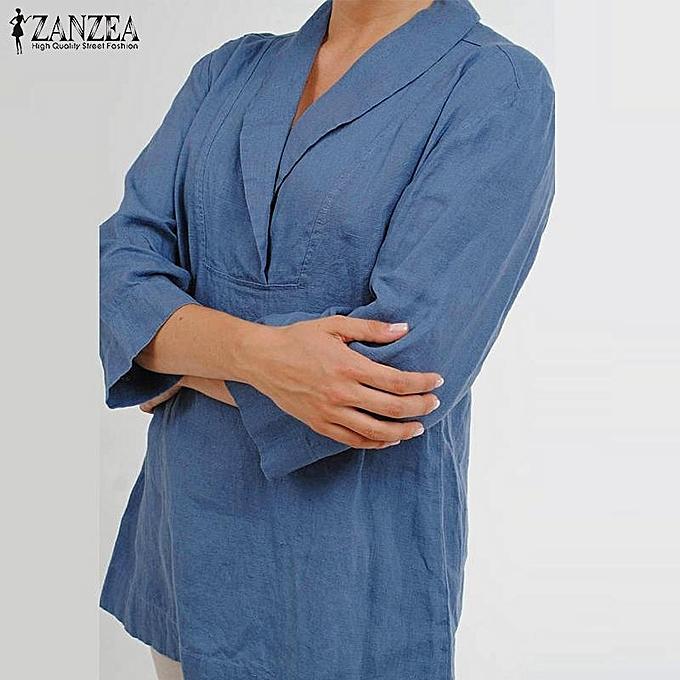 mode ZANZEA femmes Plus Taille Lapel V Neck mode Loose Cotton Solid chemisier T-shirt hauts bleu à prix pas cher
