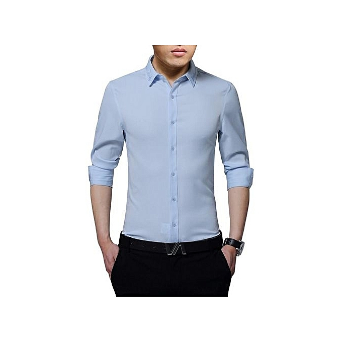 Generic Men's Embroidery Slim Fitting Business And Leisure Shirt (Light bleu) à prix pas cher