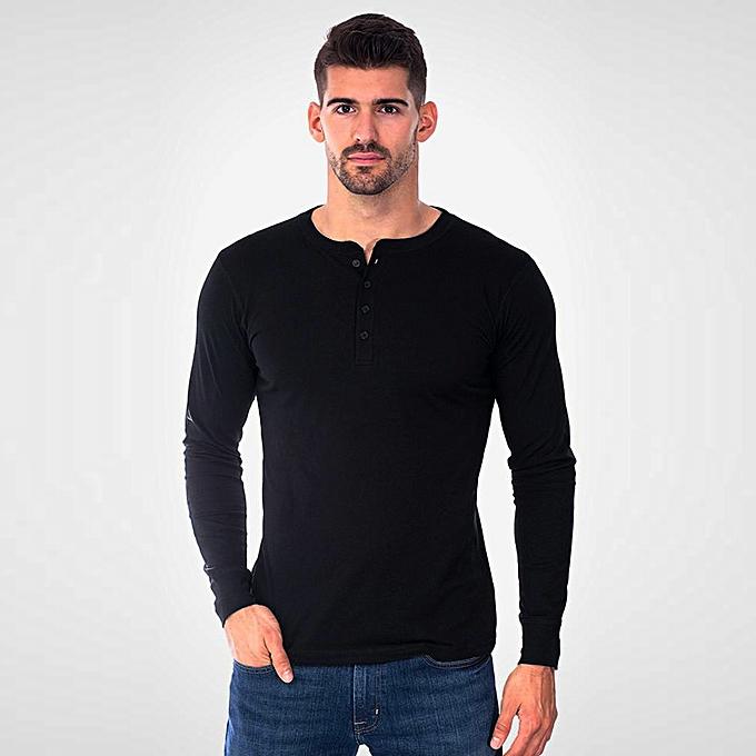 Fashion Men's Slim O Neck Long Sleeve Muscle Tee T-shirt Casual Blouse BK M -noir à prix pas cher