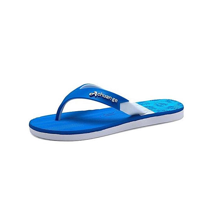 OEM Super Large Taille  Men's EVA Flip Flops Waterproof  Non-slip breathable slippers Indoor bathing beach slippers-bleu à prix pas cher