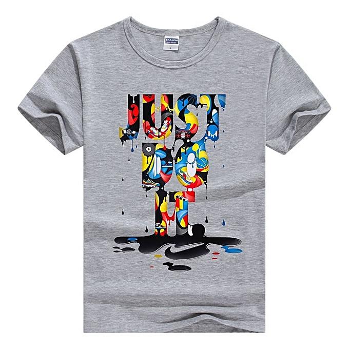 Other mode  Hommes& 039;s Couleurful JUST do IT Printed Punk gris T Shirt-Multi gris à prix pas cher