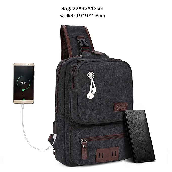 Other VICUNA POLO USB Cable Leather Men Messenger Bag With Headphone Hole High Quality Crossbody Shoulder Bag Casual Chest Sling Bag(Set noir) à prix pas cher