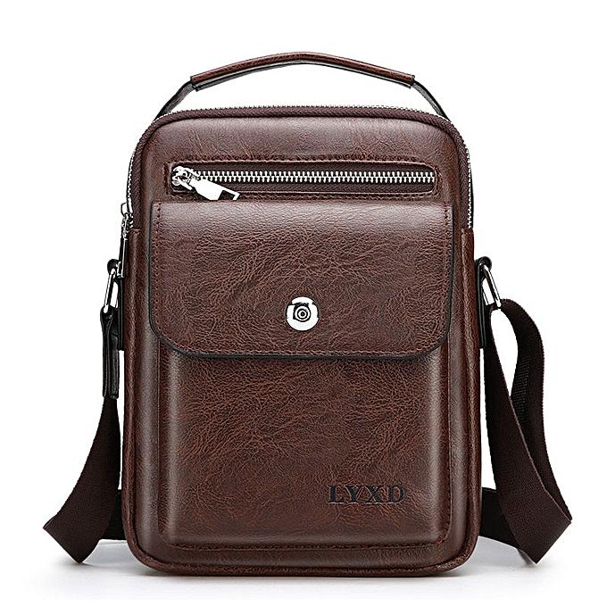 Other Retro Style Men's PU Business Travel Messenger Bag A Variety Of Styles Solid Couleur Simple And Versatile Shoulder Bag Hot Sale(dark marron xiao 1) à prix pas cher
