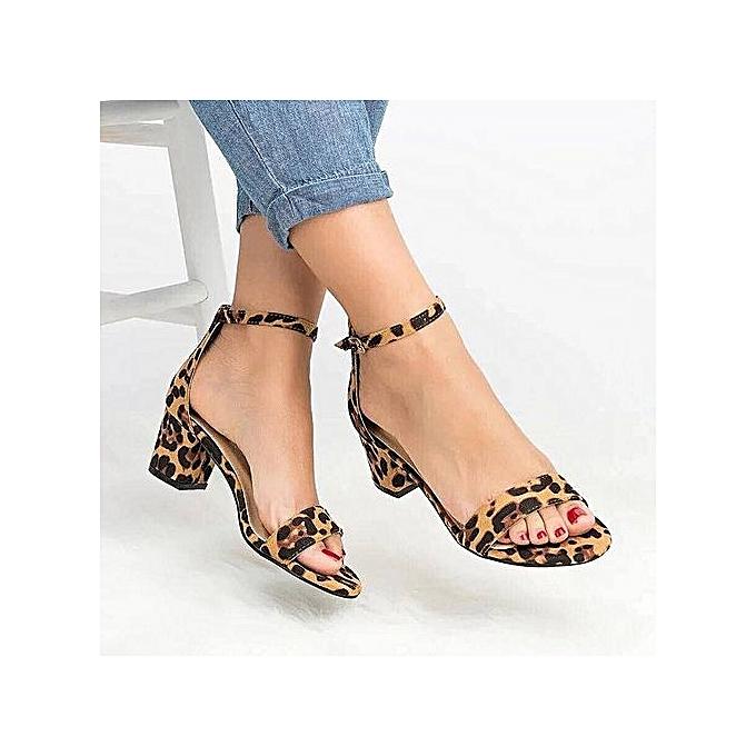 OEM Sexy femmes Leopard Print Ladies Ankle One Word Buckle Thick Heel Sandals-jaune à prix pas cher    Jumia Maroc