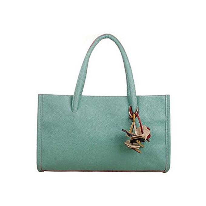 Siketu Fashion Girls Handbags Leather Shoulder Bag Candy Couleur Flowers Tote GN-vert à prix pas cher
