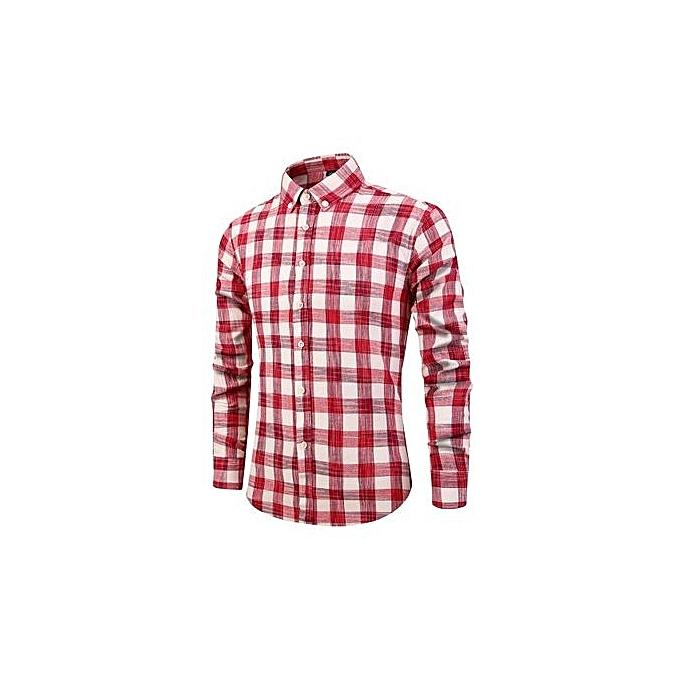 mode Autumn Hommes& 039;s Shirts nouveau Hommes& 039;s manche longue Slim Fresh Plaid Shirt-rouge à prix pas cher