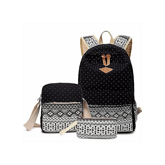 UNIVERSAL femmes Girls Canvas Shoulder School Bag Backpack Wallet Satchel Rucksack Handbag   noir à prix pas cher