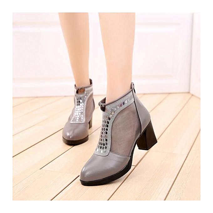 Fashion Fashion femmes Breathable Mesh Square Heel Leather Sequined Ankle bottes à prix pas cher    Jumia Maroc