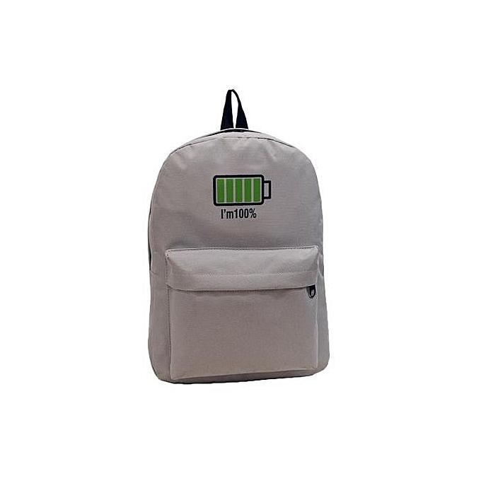 Generic Men femmes Canvas Personalized Battery Printing Backpack  Shoulder Bags à prix pas cher