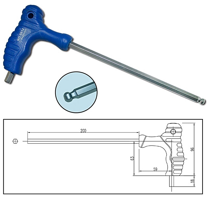 Autre 1.5mm 3mm 5mm T-Handle Allen Key Ball Tip Hex Hexagon Wrench Repair Hand Tool High Quality P15(5mm) à prix pas cher