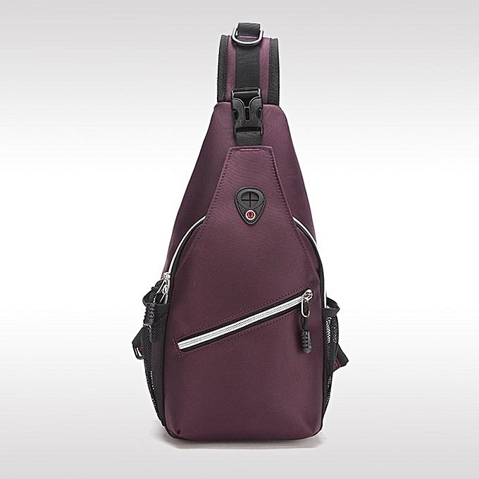 Other 2018 Hommes's chest sac bandoulière Pack Headset Hole-Fits For Music respirant grand petit leisure Sling Shoulder Male Messenger sac(violet3) à prix pas cher