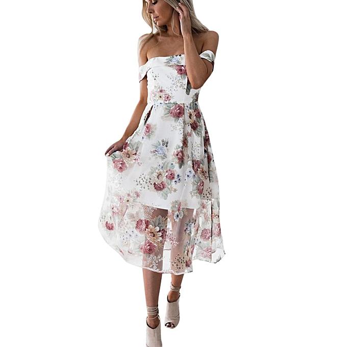 Generic Hiamok femmes Summer Off Shoulder Floral Printed Long Maxi Dress à prix pas cher