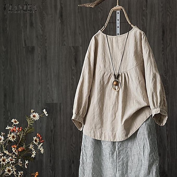 Fashion ZANZEA femmes 3 4 Lantern Sleeve Casual Plain Shirt Tops Round Neck OverTaille Blouse Plus à prix pas cher