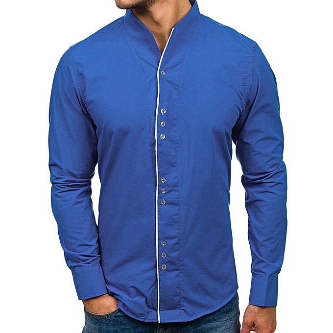 Fashion jiuhap store Men Casual Solid Design Buttons Shirt Long Sleeve Top Blouse à prix pas cher