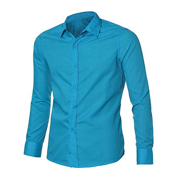 mode jiuhap store Pour des hommes Luxury mode Décontracté Robe Slim Fit T-Shirts Décontracté manche longue BU L à prix pas cher