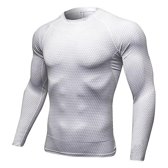Other Hommes& 039;s 3D Stereo Print Fitness FonctionneHommest T Shirt manche longues Training hauts-blanc à prix pas cher