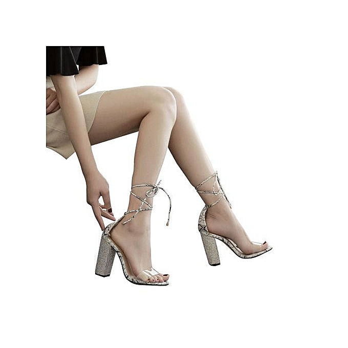 mode femmes Cross cravated Transparent Crystal Square Heel High Heeled chaussures à prix pas cher