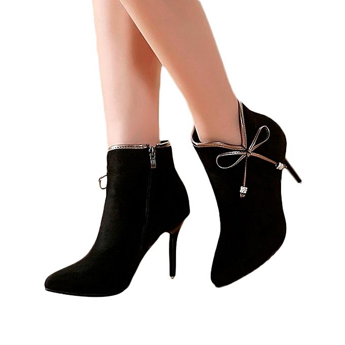 Fashion Fashion WoHommes 's Boots Shoes Stiletto Pointed Warm Non-Slip Boots 's Bow Ankle Boots -flock à prix pas cher  | Jumia Maroc fde65d