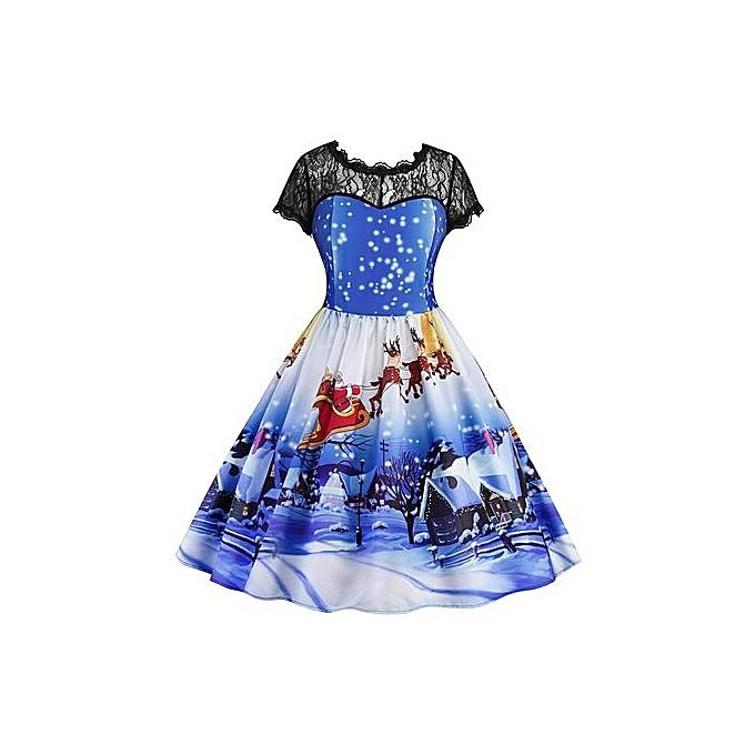 Generic HL Christmas Printed Lace Panel Vintage Dress (bleu)(S-2XL) à prix pas cher