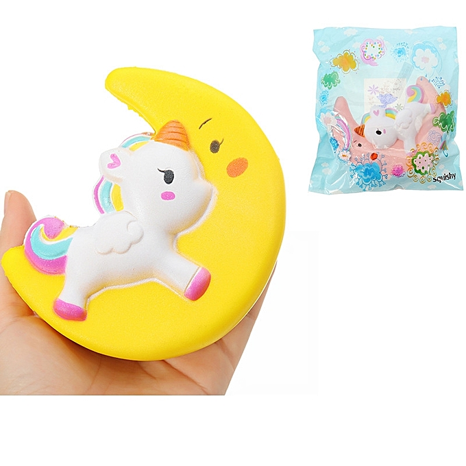 UNIVERSAL voituretoon Unicorn Moon Pegasus Squishy 19cm SFaible Rising With Packaging Collection Gift Soft Toy-jaune à prix pas cher