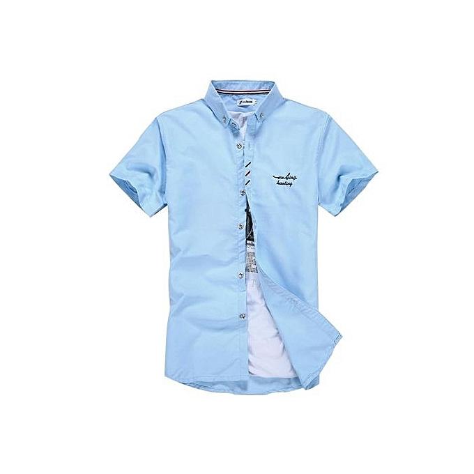 Generic manche courte Youthful Slim Fit Décontracté Shirt (lumière bleu) à prix pas cher