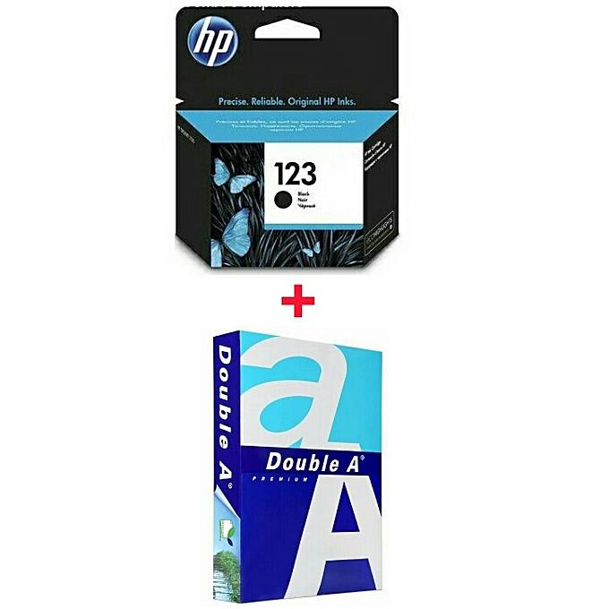 HP cartouche 123 noir - Original + Ramette papier A4 AA à prix pas cher