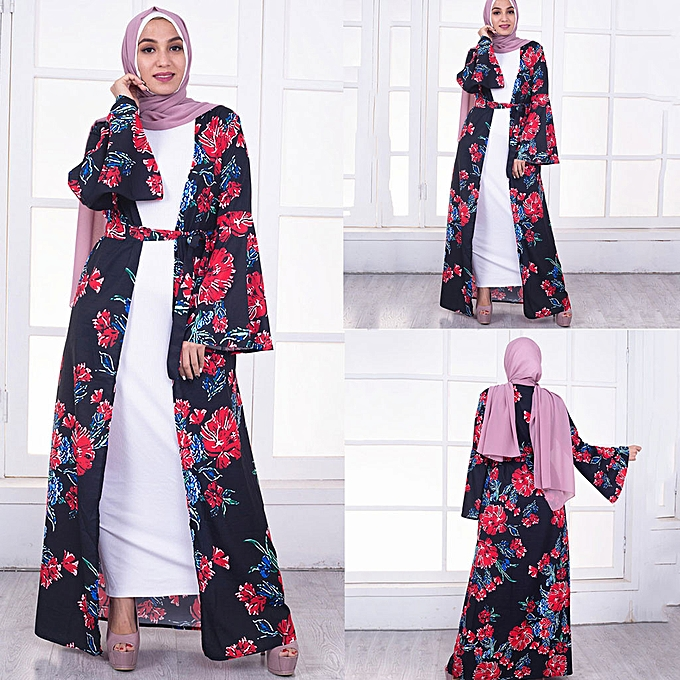 mode whiskyky store femmes Floral Printed Long Robe Robe Open Abaya voituredigan Muslim Dubai Robe Gown à prix pas cher