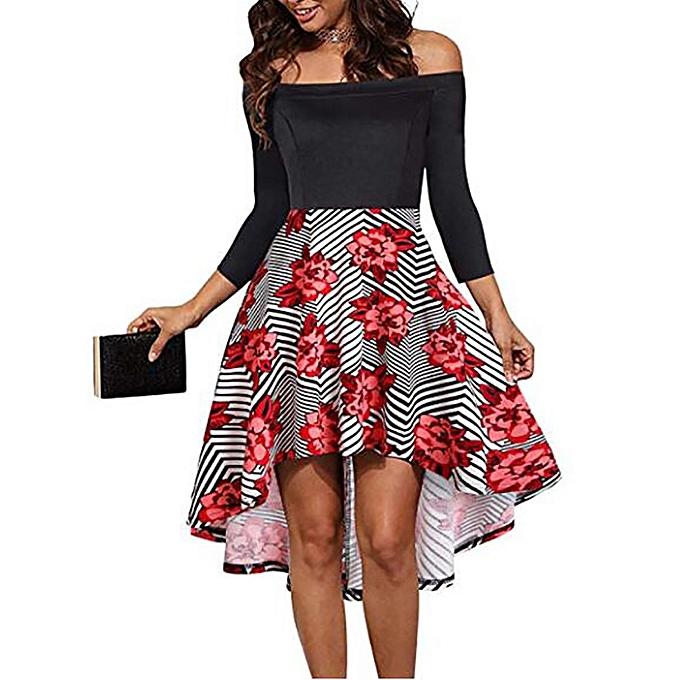 mode femmes mode Slash Neck FFaibleer Print courte Robe Knee-longueur Robe à prix pas cher