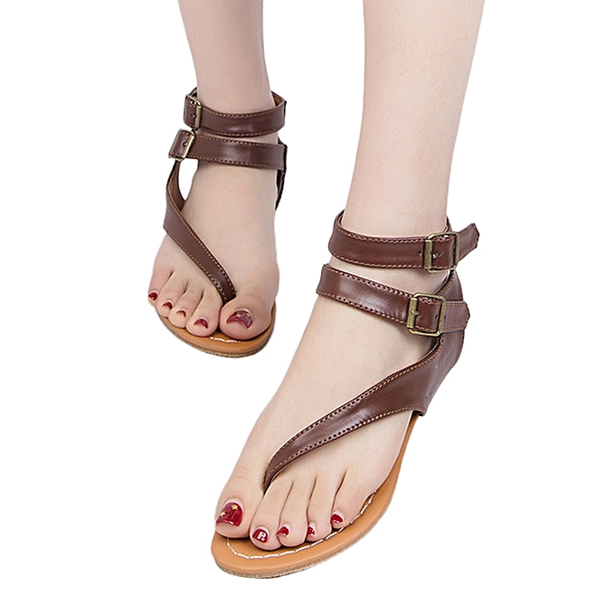 Fashion Blicool Shop femmes Sandals femmes Summer Strappy Gladiator Low Flat Heel Flip Flops Beach Sandals chaussures-marron à prix pas cher