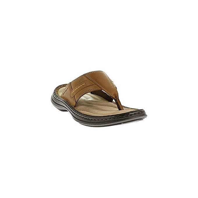 Hush Puppies Tongs Relief Toe Post- Cuir  Tabac à prix pas cher