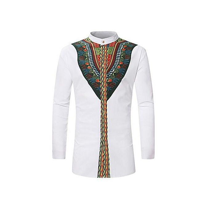 GeneAfrica Long Sleeve Button Down Slim Fit African Ethnic Print Men Shirt à prix pas cher